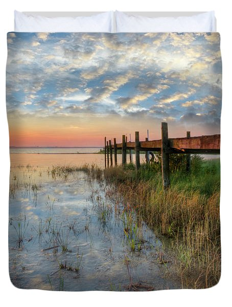 Watching The Sun Rise Duvet Cover by Debra and Dave Vanderlaan
