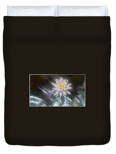 Water Lily In Sunlight Duvet Cover by Jeff Kolker