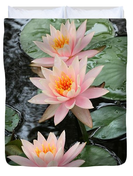 Water Lily Trio Duvet Cover by Sabrina L Ryan