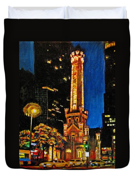 Water Tower At Night Duvet Cover by Michael Durst