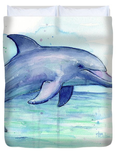 Watercolor Dolphin Painting - Facing Right Duvet Cover by Olga Shvartsur