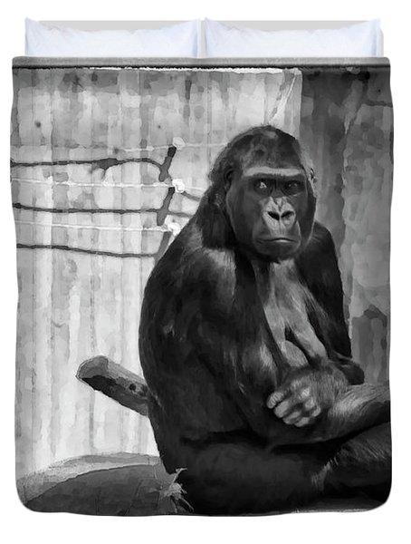 Watercolor Gorilla Duvet Cover by Joan Carroll