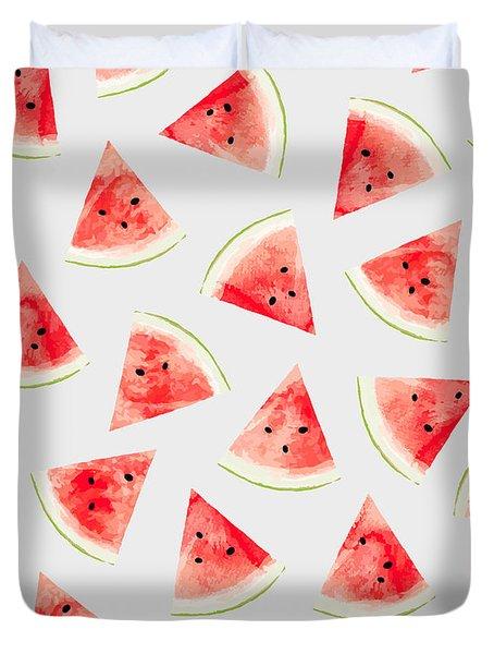 Watercolor Watermelon Pattern Duvet Cover by Uma Gokhale