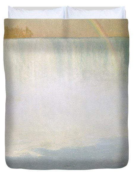 Waterfall And Rainbow At Niagara Falls Duvet Cover by Albert Bierstadt