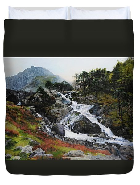 Waterfall In February. Duvet Cover by Harry Robertson