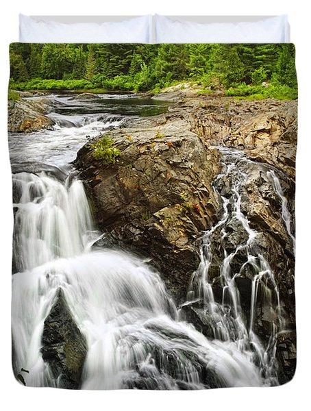 Waterfall In Wilderness Duvet Cover by Elena Elisseeva