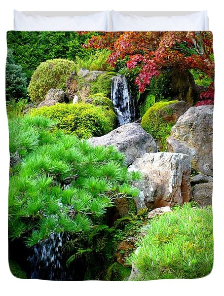 Waterfalls in Japanese Garden Duvet Cover by Carol Groenen