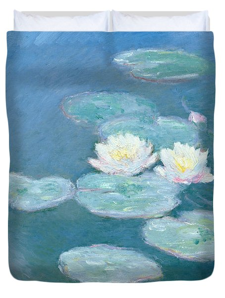 Waterlilies Evening Duvet Cover by Claude Monet