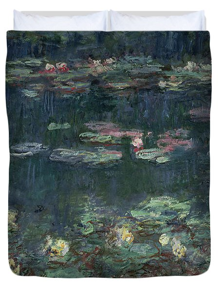 Waterlilies Green Reflections Duvet Cover by Claude Monet