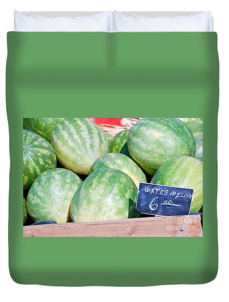 Watermelons With A Price Sign Duvet Cover by Paul Velgos