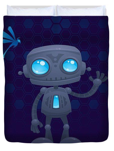 Waving Robot Duvet Cover by John Schwegel