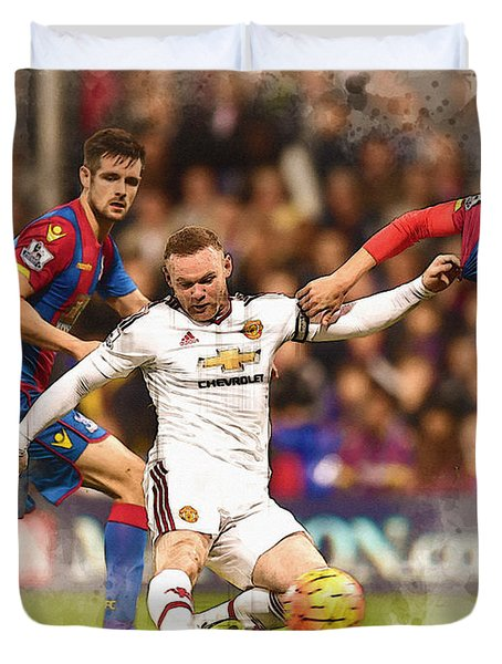 Wayne Rooney Shoots At Goal Duvet Cover by Don Kuing