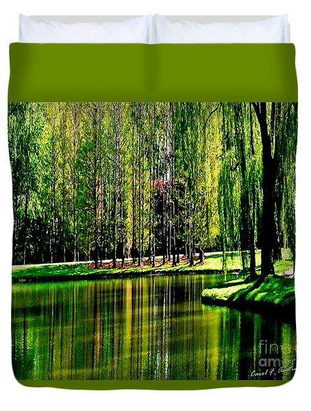 Weeping Willow Tree Reflective Moments Duvet Cover by Carol F Austin