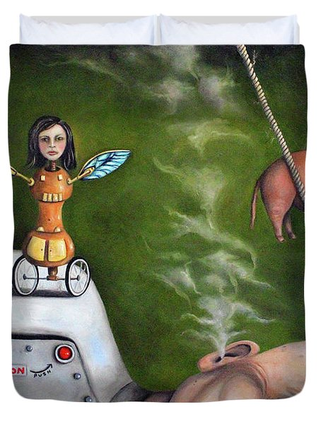 Weird Science-the Robot Factory Duvet Cover by Leah Saulnier The Painting Maniac