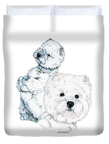 West Highland White Terriers Duvet Cover by Kathleen Sepulveda