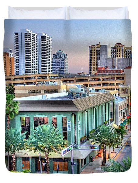 West Palm at Twilight Duvet Cover by Debra and Dave Vanderlaan