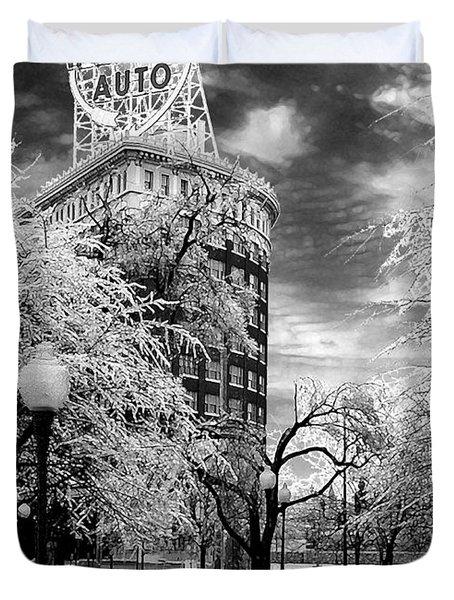 Western Auto In Winter Duvet Cover by Steve Karol
