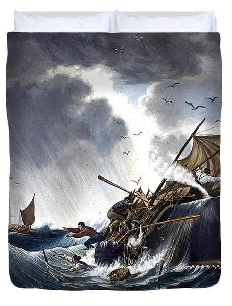 Whale Destroying Whaling Ship Duvet Cover by American School
