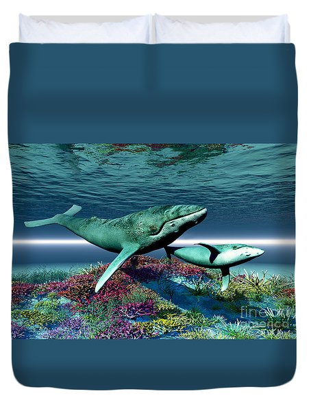 Whale Song Duvet Cover by Corey Ford