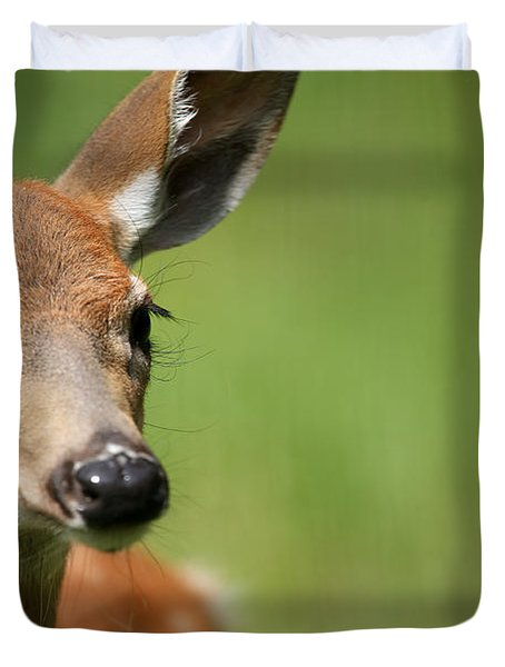 What A Face 1 Duvet Cover by Karol Livote