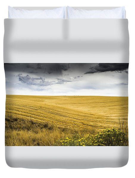 Wheat Fields With Storm Duvet Cover by John Trax