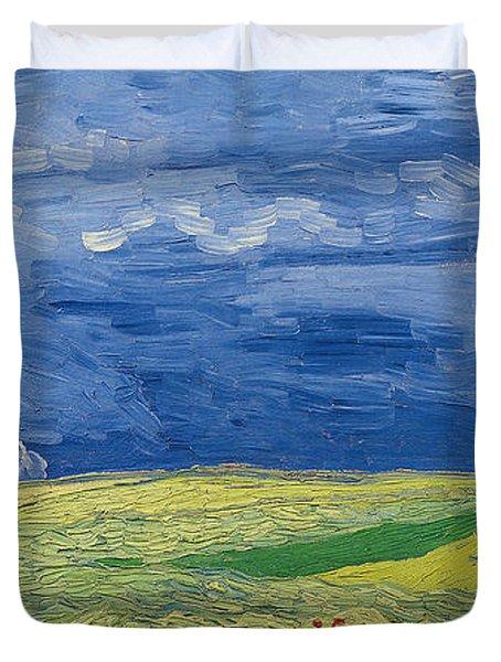 Wheatfields Under Thunderclouds Duvet Cover by Vincent Van Gogh