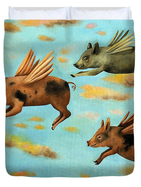 When Pigs Fly Duvet Cover by Leah Saulnier The Painting Maniac
