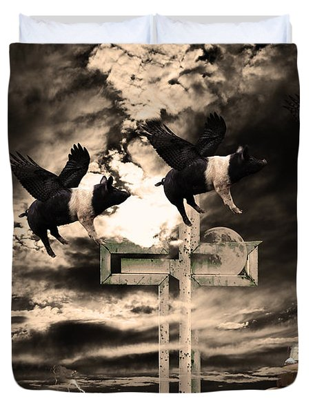When Pigs Fly Duvet Cover by Wingsdomain Art and Photography