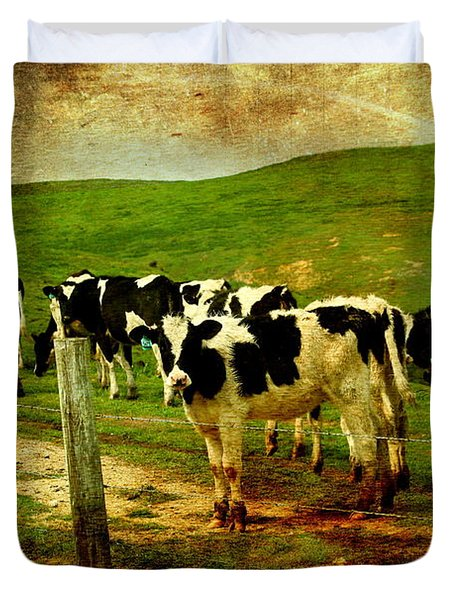 When The Cows Come Home . Photoart Duvet Cover by Wingsdomain Art and Photography