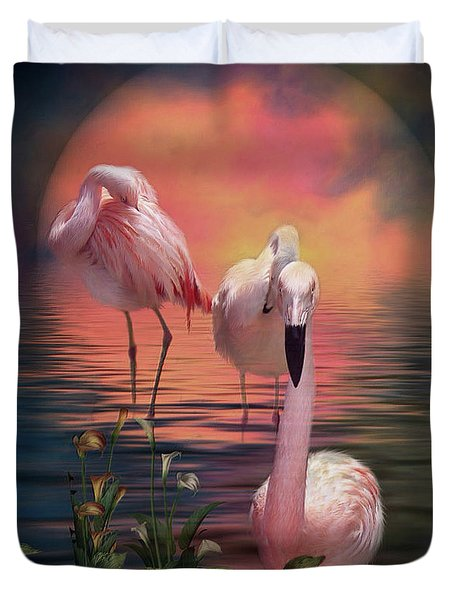 Where The Wild Flamingo Grow Duvet Cover by Carol Cavalaris
