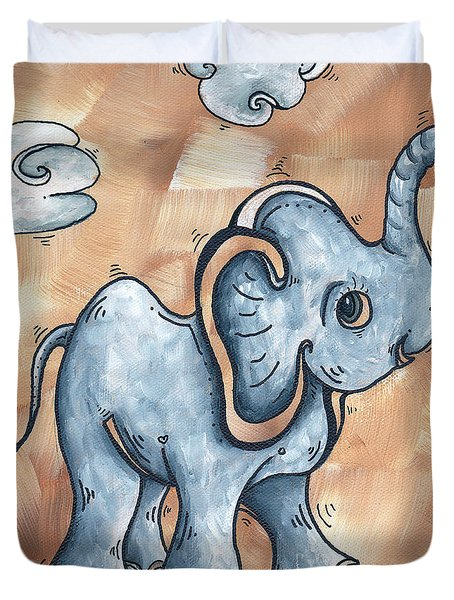 Whimsical Pop Art Childrens Nursery Original Elephant Painting ADORABLE by MADART Duvet Cover by Megan Duncanson