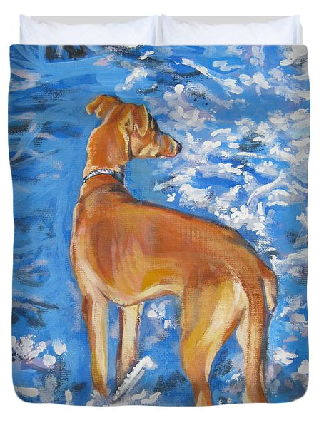 Whippet Duvet Cover by Lee Ann Shepard