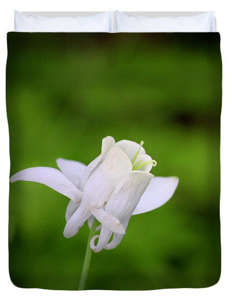 White Columbine Squared Duvet Cover by Teresa Mucha