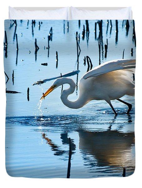 White Egret At Horicon Marsh Wisconsin Duvet Cover by Steve Gadomski