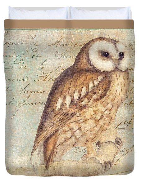 White Faced Owl Duvet Cover by Mindy Sommers