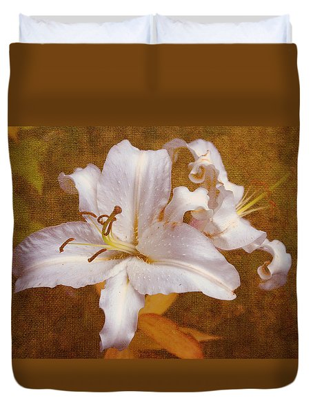 White Lilies. Time To Be Romantic Duvet Cover by Jenny Rainbow