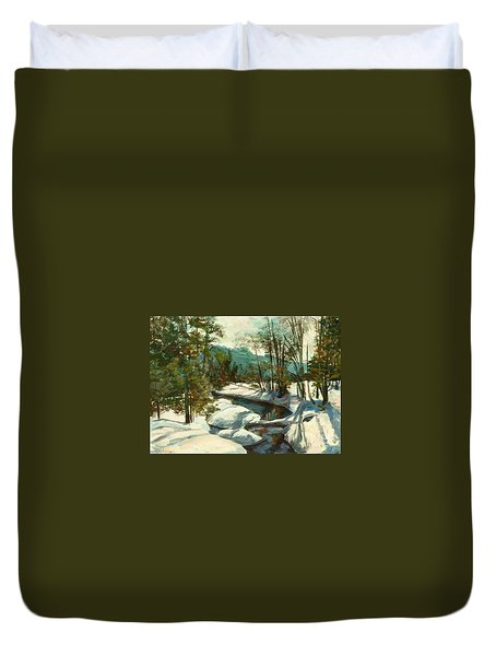 White Mountain Winter Creek Duvet Cover by Claire Gagnon
