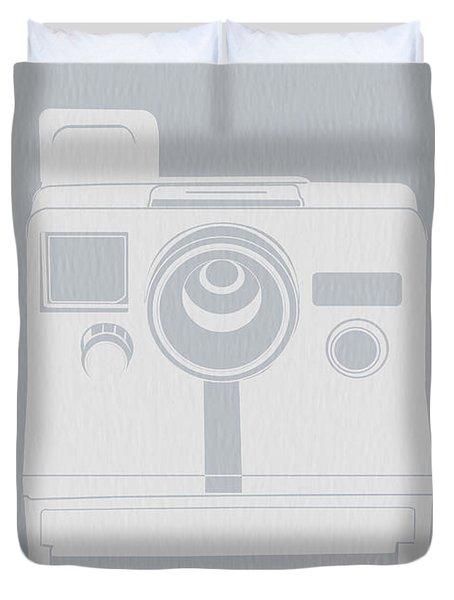 White Polaroid Camera Duvet Cover by Naxart Studio