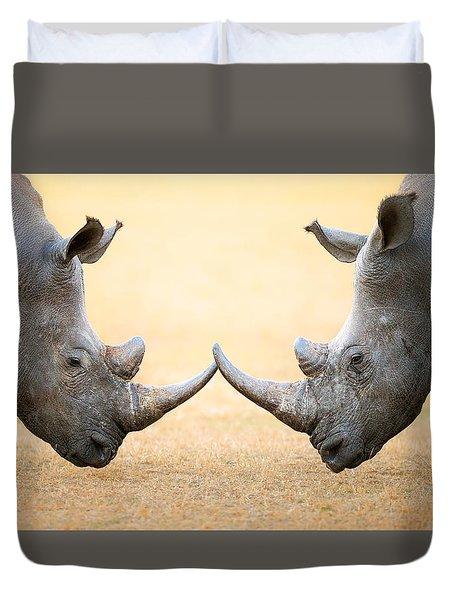 White Rhinoceros  Head To Head Duvet Cover by Johan Swanepoel
