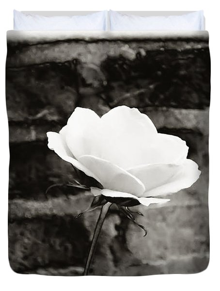White Rose In Black And White Duvet Cover by Bill Cannon