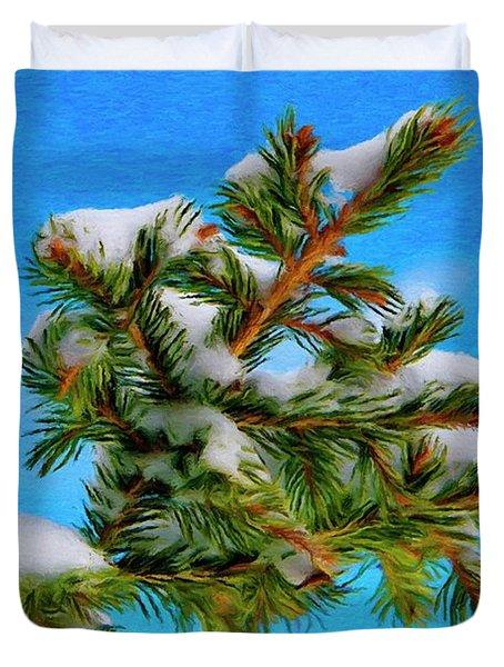 White Snow On Evergreen Duvet Cover by Jeff Kolker