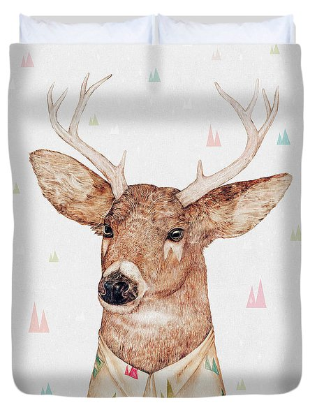 White Tailed Deer Square Duvet Cover by Animal Crew