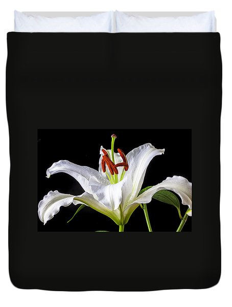White Tiger Lily Still Life Duvet Cover by Garry Gay
