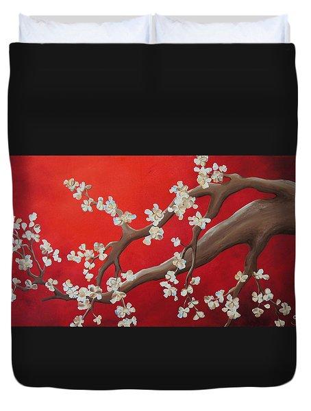 White Tree Blossoms Duvet Cover by Shiela Gosselin