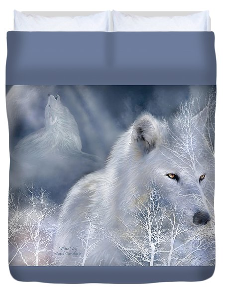 White Wolf Duvet Cover by Carol Cavalaris