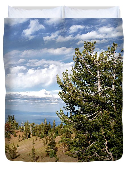 Whitebark Pine trees Overlooking Crater Lake - Oregon Duvet Cover by Christine Till