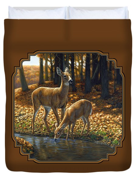 Whitetail Deer - Autumn Innocence 1 Duvet Cover by Crista Forest