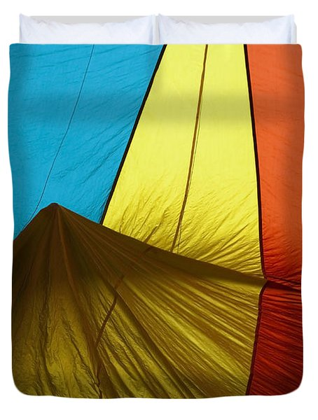 Who landed this balloon on me Duvet Cover by Mike  Dawson