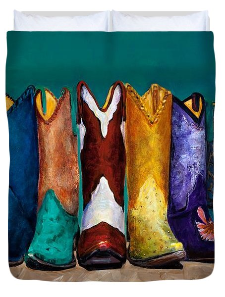 Why Real Men Want To Be Cowboys 2 Duvet Cover by Frances Marino