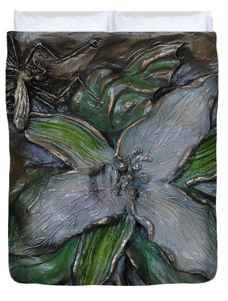 Wild Trillium And Cranefly  Duvet Cover by Dawn Senior-Trask